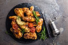 BBQ chicken wings, spicy grilled meat. Top view Royalty Free Stock Photography