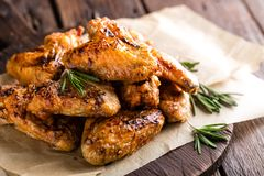 BBQ chicken wings, spicy grilled meat Royalty Free Stock Image