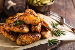 BBQ chicken wings, spicy grilled meat Royalty Free Stock Photography