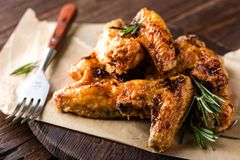 BBQ chicken wings, spicy grilled meat Royalty Free Stock Images
