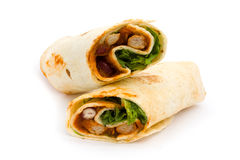 BBQ chicken wrap over white. BBQ chicken wrap isolated on white Royalty Free Stock Photo