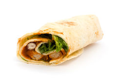 BBQ chicken wrap over white Stock Image
