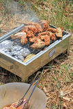BBQ. Close up photo of cooking meet Royalty Free Stock Image