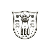 BBQ club label in monochrome style. Invitation to grill, barbeque event. Isolated on white background. Vintage black Stock Photos