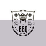 BBQ club label in monochrome style. Invitation to grill, barbeque event. Isolated on white background. Vintage black Stock Photo