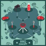 BBQ color isometric concept icons. Barbecue Food flyer. Barbecue advertisement. Vector illustration, EPS 10 Stock Images