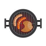 BBQ con bistecca, salsiccie Preparazione di carne in natura Griglia con i carboni caldi Illustrazione di vettore isolata su bianc illustrazione vettoriale