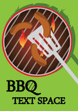 BBQ cooking. BBQ illustration of some sausages cooking on a sizzling hot BBQ with a spatula. Illustrator Eps version 8. Illustration also has writing space Stock Image