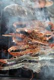 Bbq cooking fish Royalty Free Stock Images