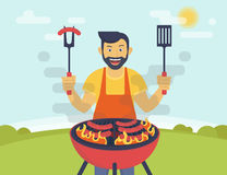 BBQ cooking party. BBQ party. Flat illustration of smiling guy is cooking sausages barbecue outdoors. Funny hipster wearing beard is cooking bbq for his friends Royalty Free Stock Photo