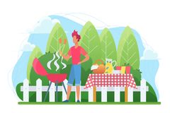 BBQ in the courtyard flat vector illustration