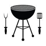 BBQ cutlery i grill Fotografia Royalty Free