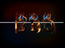 BBQ烤菜单, 3d与火,格栅味道的文本  免版税库存图片