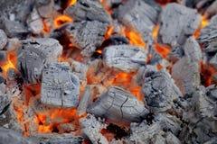 Bbq d'ardore del forgrill del carbone di legna, priorità bassa Fotografia Stock