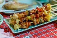 BBQ da galinha em Umphang Província de Mae Hong Son, Tailândia foto de stock