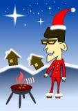 BBQ da noite de Natal do menino Imagem de Stock Royalty Free