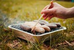 BBQ das salsichas da carne do verão da grade Foto de Stock Royalty Free