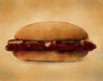 BBQ de Sandwich van het Varkensvlees - het Digitale Schilderen Stock Afbeeldingen