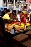 BBQ de verkoper van de varkensvleesfilet in Macao Royalty-vrije Stock Fotografie