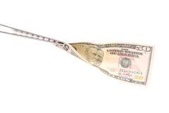 BBQ de vork houdt vijftig dollar miljard op een witte achtergrond wordt geïsoleerd die Royalty-vrije Stock Afbeelding