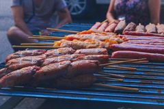 BBQ del brasiliano nelle vie di Sao Paulo fotografie stock libere da diritti