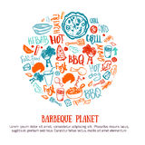 BBQ design element in shape of circle Doodle hand-drawn poster with barbeque accessories, lettering vector illustration. On white background vector illustration