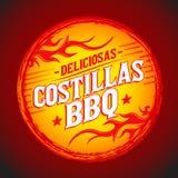 BBQ di Deliciosas Costillas - il BBQ delizioso Ribs il testo spagnolo Immagine Stock