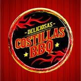 BBQ di Deliciosas Costillas - il BBQ delizioso Ribs il testo spagnolo Fotografia Stock