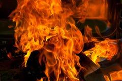 BBQ di legno del fuoco Fotografie Stock