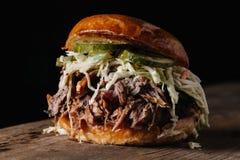 BBQ dragen grisköttsmörgås med knipor för för bleuostvitkålssallad och dill Fotografering för Bildbyråer