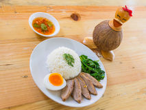 BBQ duck over steamed rice Stock Photography