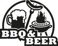 BBQ e cerveja com grade e salsicha ilustração stock