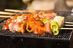 BBQ in een traliewerk wordt, met kruiden wordt gekruid geroosterd dat Gebruik als voedselconcept royalty-vrije stock foto's