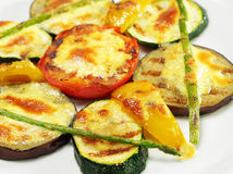 BBQ Eggplant. And Tomato under Sabayon Suace with Fried Green Asparagus royalty free stock photo