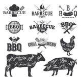 Bbq-emblem och logoer Arkivfoto