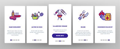 BBQ Equipment Vector Onboarding Mobile App Page Screen. BBQ Equipment, Tools Linear Vector Icons Set. Barbecue Thin Line Contour Symbol. BBQ Cooking Onboarding vector illustration