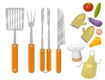 Bbq för produkter för matställe för för grillfesthem som eller restaurang rarty grillar illustrationen för lägenhet för kökutrust vektor illustrationer