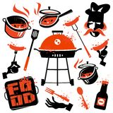 BBQ facilities. Food and kitchen utensils on a Royalty Free Stock Images