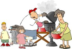 bbq-familj royaltyfri illustrationer