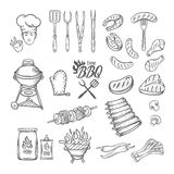 BBQ Feast Party Set. Vintage engraving style, Isolated vector illustration, hand drawn elements vector illustration