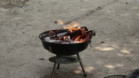Bbq-Feuer in der Zeitlupe stock video