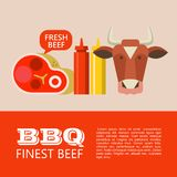 BBQ. Vector illustration. BBQ. Finest beef. Vector clip art. Cow head, beautiful delicious steak, mustard and ketchup. Illustration with space for text royalty free illustration