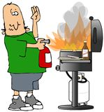 BBQ On Fire royalty free illustration