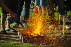 BBQ fire with sparks Royalty Free Stock Photo