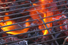 BBQ Flames. Just lighting the barbecue and the flames are coming up through the grill Stock Images