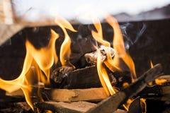 BBQ flammar på en Sunny Day Fotografering för Bildbyråer