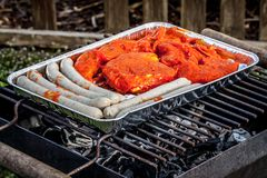 Bbq-Fleisch auf einem Grill stockfotografie