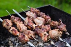 Bbq-Fleisch auf Grill im Garten Stockfotos