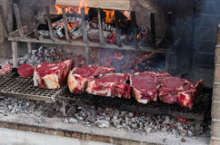 BBQ with florentines steaks Stock Photography