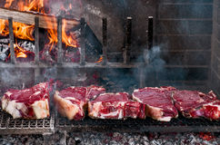 BBQ with florentines steaks Royalty Free Stock Image